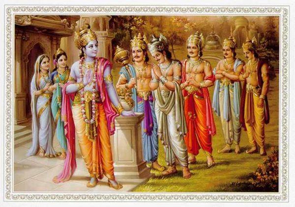 Krishna-Pandavas-Kunti-Draupadi
